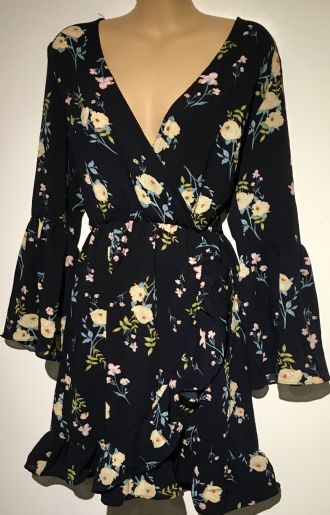 GIRL IN MIND NAVY FLORAL FLUTED SLEEVE DRESS BNWT SIZE UK 12